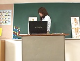 Hot teacher Jun Harada masturbastes in front of her students picture 4