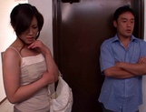 Kinky Japanese milf Yuri Shibasaki in sexy pantyhose blows cock picture 3