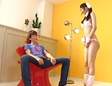 Hot cosplay action with Claire Hasumi jerking off and giving head picture 13