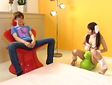 Hot cosplay action with Claire Hasumi jerking off and giving head