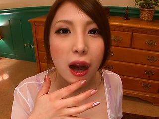 Asian  MILF Ria Kotone, gives a hot blowjob and eats cum