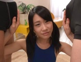 Asian babe in bathing suit, Risa Hitomi sucks two dicks for a facial