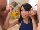 Asian babe in bathing suit, Risa Hitomi sucks two dicks for a facial picture 13