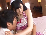 Brunette teen, Yuma Kouda goes the extra mile for a big dick