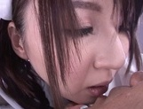 Horny nurse in white pantyhose Yui Tatsumi gives a wild riding picture 10