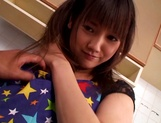 Teen sweetie in pink panties Rei Mizuna gets fingered gives a blow