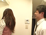 Hot office babe Kana Otowa jerks off cock and gives head picture 12