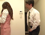 Hot office babe Kana Otowa jerks off cock and gives head picture 13
