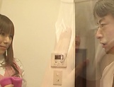 Hot office babe Kana Otowa jerks off cock and gives head picture 15