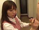 Hot office babe Kana Otowa jerks off cock and gives head