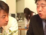 Hot office babe Kana Otowa jerks off cock and gives head picture 7