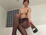 Asian Milf Reiko Sawamura in sexy pantyhose enjoys a soapy fuck