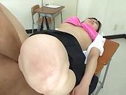 Japanese teacher enjoys student's cock for a few spins