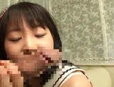 Pretty teen model Kurumi Tachibana blows cock gets fucked doggie style picture 3
