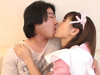 Perky tits Japanese maid blows big cock in POV