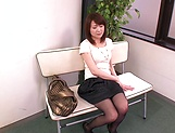 Horny MILF Nozomi Hazuki finger fucks her hairy pussy in public picture 8