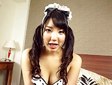 Hot Asian teen sucks dick dressed up as sexy maid