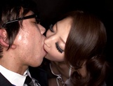 Adorable Japanese milf Erika Masujaku seduces two guys gives a double blow picture 12