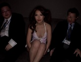 Adorable Japanese milf Erika Masujaku seduces two guys gives a double blow picture 7