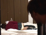 Teen gal with tiny tits Madoka Hitomi spreads legs for hot bang