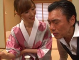 Yuna Hayashi Asian housewife in a kimono gives tit fuck picture 11
