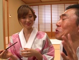 Yuna Hayashi Asian housewife in a kimono gives tit fuck picture 12