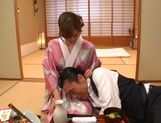 Yuna Hayashi Asian housewife in a kimono gives tit fuck picture 14