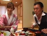Yuna Hayashi Asian housewife in a kimono gives tit fuck