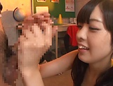 Beautiful Arisa Fujii in raunchy handjob scene indoors