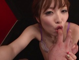 Hot redhead milf Rina Kato deepthroats her lover swallows jizz picture 14