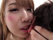 Hot Asian bombshell with round ass Seira Matsuoka rides cock on camera