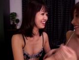 Sensual babes Riona Minami, and Kotomi Asakuraplaying naughty in lesbian show picture 14
