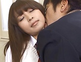 Hot Asian schoolgirl Hirono Imai takes it hard in the dressing room picture 14