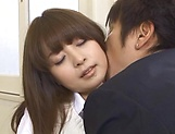Hot Asian schoolgirl Hirono Imai takes it hard in the dressing room picture 15