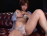 Stunning Japanese babe squirts while masturbating picture 10
