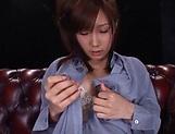 Stunning Japanese babe squirts while masturbating