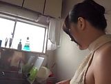Nana Ninomiya gets a messy cum in mouth.