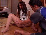 Yuri Shibasaki, hot Asian milf in sexy pantyhose gets dildo in pussy picture 13