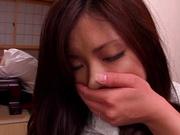 Sexy Japanese milf in white pantyhose Yuri Shibasaki dildo fucked
