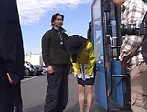 Hot cosplay action with a cute babe on a bus, Kaede Matsushima