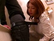 Haruka Sanada, naughty Asian milf sucks cock in the toilet