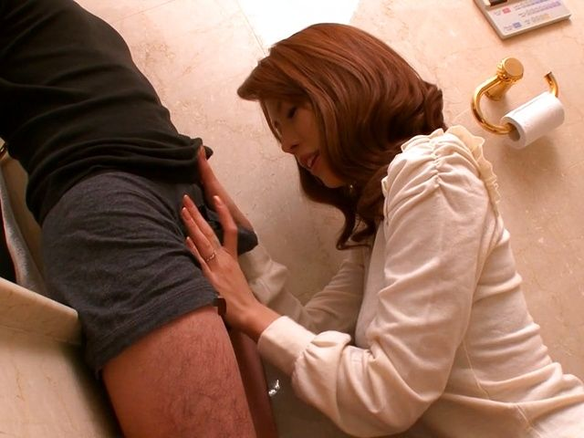 Haruka Sanada, naughty Asian milf sucks cock in the toilet