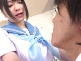 Kinky Asian schoolgirl Erika Kitagawa, is fond of cock teasing action picture 4