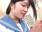 Kinky Asian schoolgirl Erika Kitagawa, is fond of cock teasing action picture 8