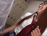 Asian minx in school uniform Miina Arimura gives head