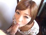 Cute curved babe Sara Saijou taking a huge dick