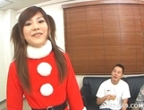 Anna Watase Costume Threesome Creampie Japanese babe In Elf Suit Has A Three Way Cum Party picture 12