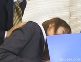 Arika Takarano Office Lady Costume Play Asian babe is taking a break from her office duties with her boss picture 12