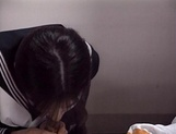 Adorable schoolgirl Rina Kougen gives head and fucks hard