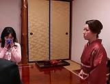 Horny Okazaki Hanae slides her fingers down picture 13